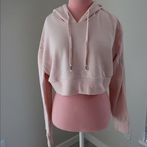 Forever 21 Cropped Pale Pink Sweatshirt